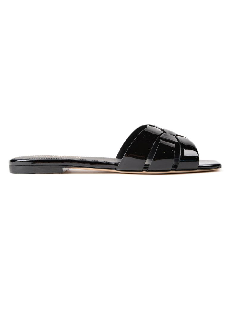 Nu Pieds Patent Leather Slide Sandals - Black Size 5 in Grey