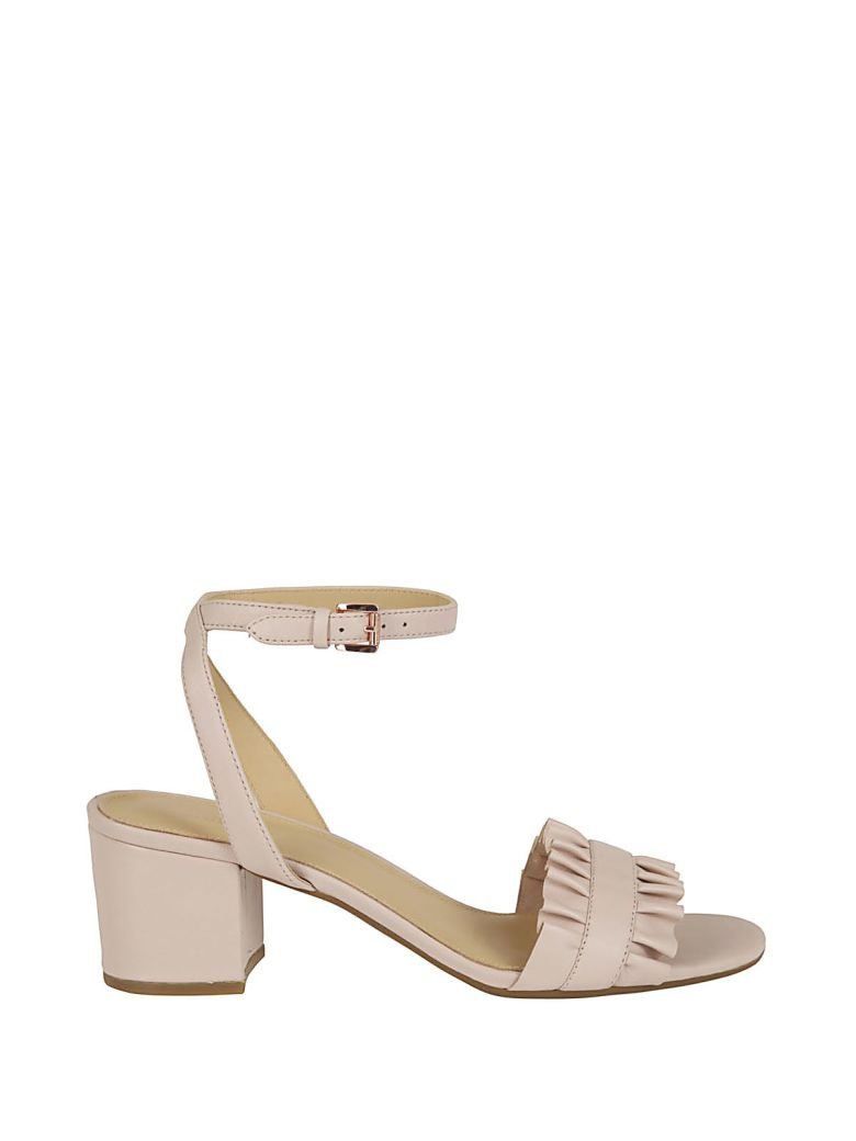 BELLA PINK LEATHER SANDAL WITH RUFFLE