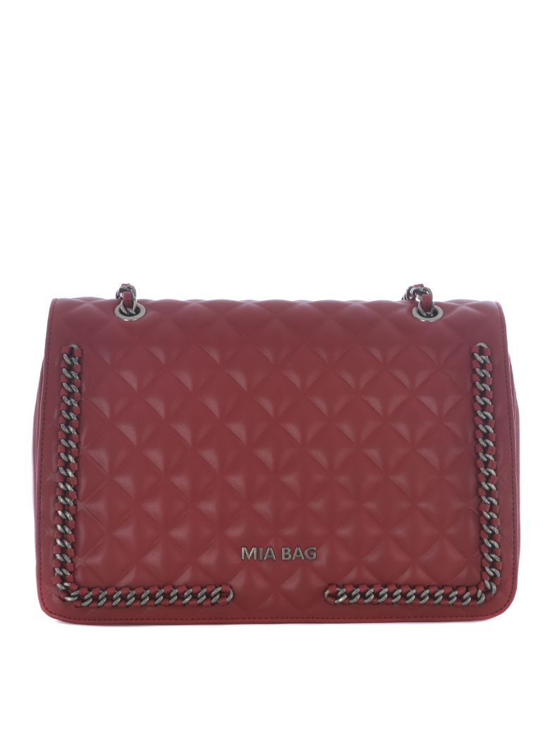 MIA BAG Knitted Quilted Tote in Rosso
