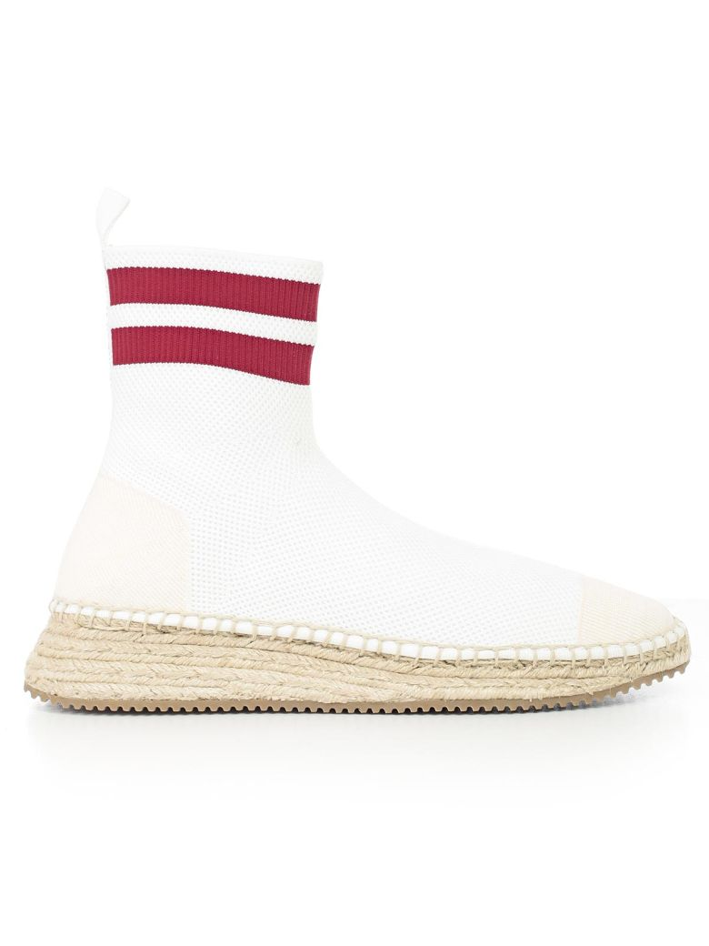 Dylan Knit Espadrille Bootie, White Red
