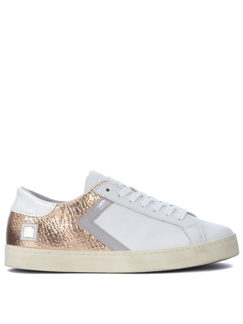 D.A.T.E. HILL LOW HALF WHITE AND PINK-GOLD LAMINATED LEATHER SNEAKER