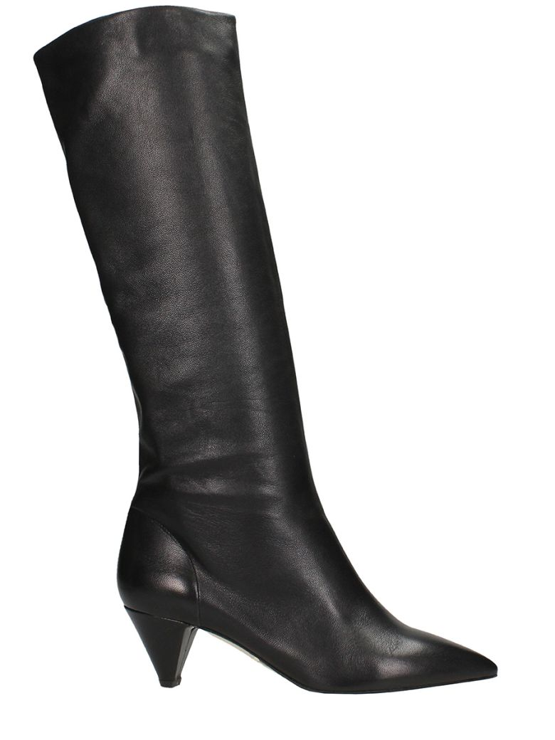 THE SELLER POINTED TOE BLACK CALF LEATHER BOOTS