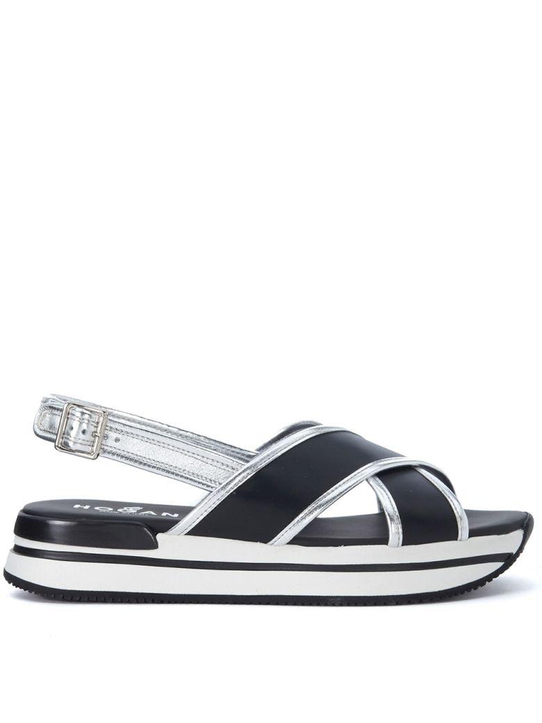 Hogan - Hogan H257 Black And Silver Leather Sandal - NERO, Women's Shoes |  Italist