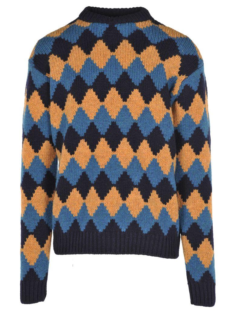 Diamond-Intarsia Wool Jumper, Blue + Turquoise + Ocher