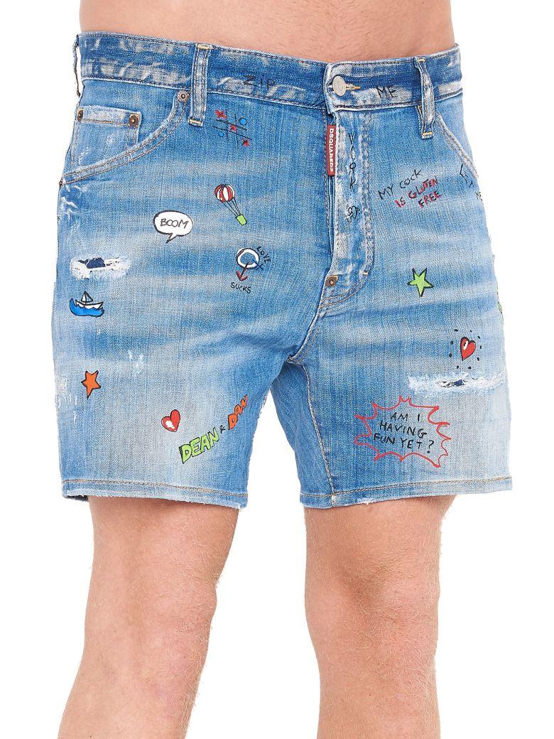 doodle print denim shorts - Blue Dsquared2 umN5KpJ0y9