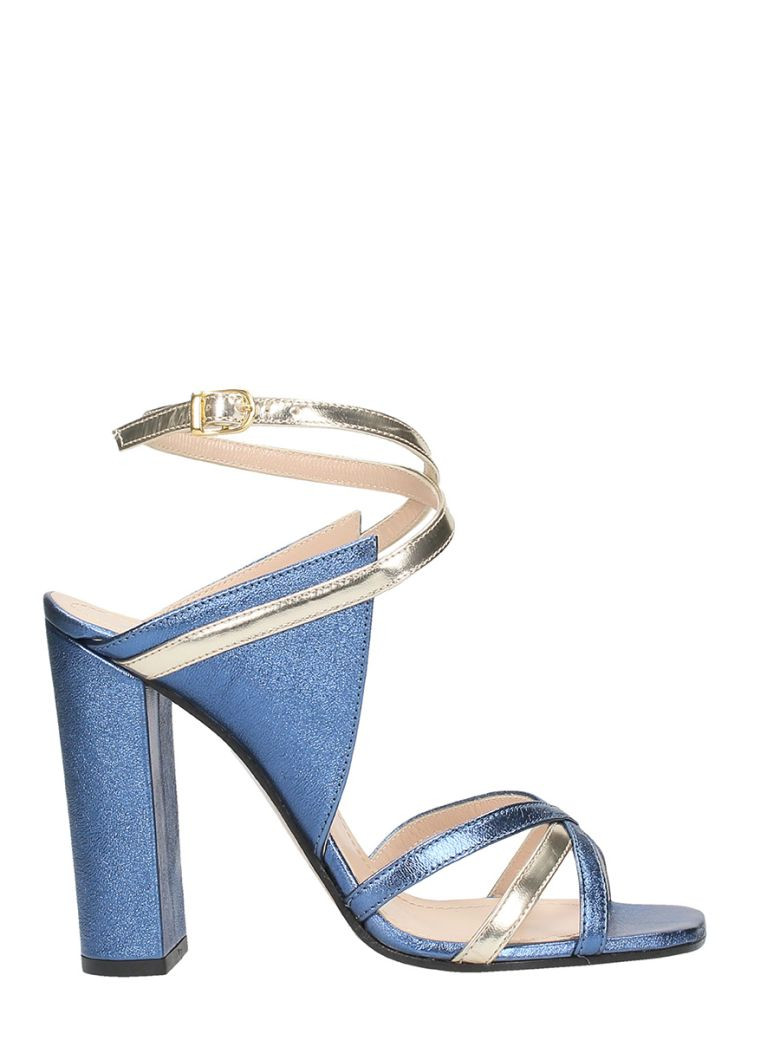 BLUE SILVER LEATHER SANDALS