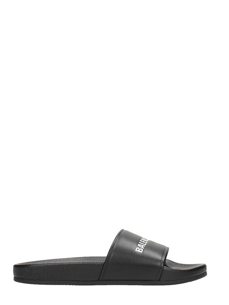 Balenciaga Logo-Stamped Leather Slide Sandals - Black Size 8 M