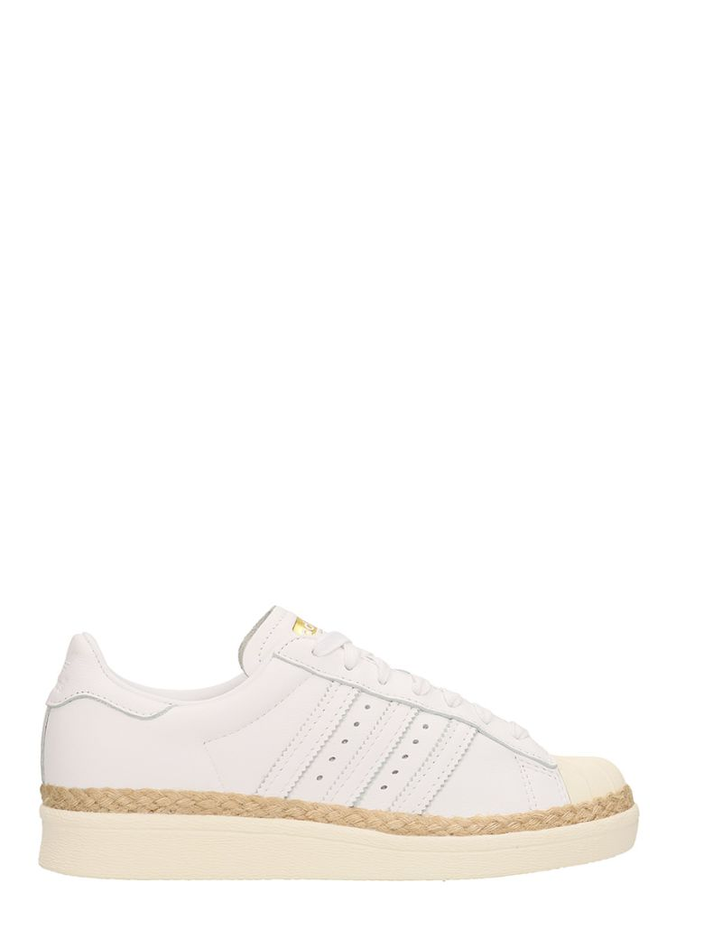STAN SMITH WHITE LEATHER AND JUTE SNEAKER