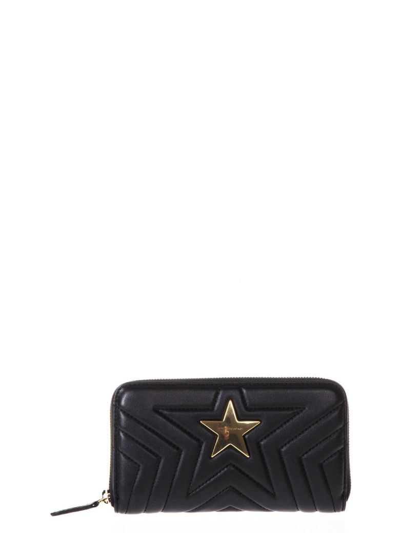STAR BLACK FAUX LEATHER WALLET