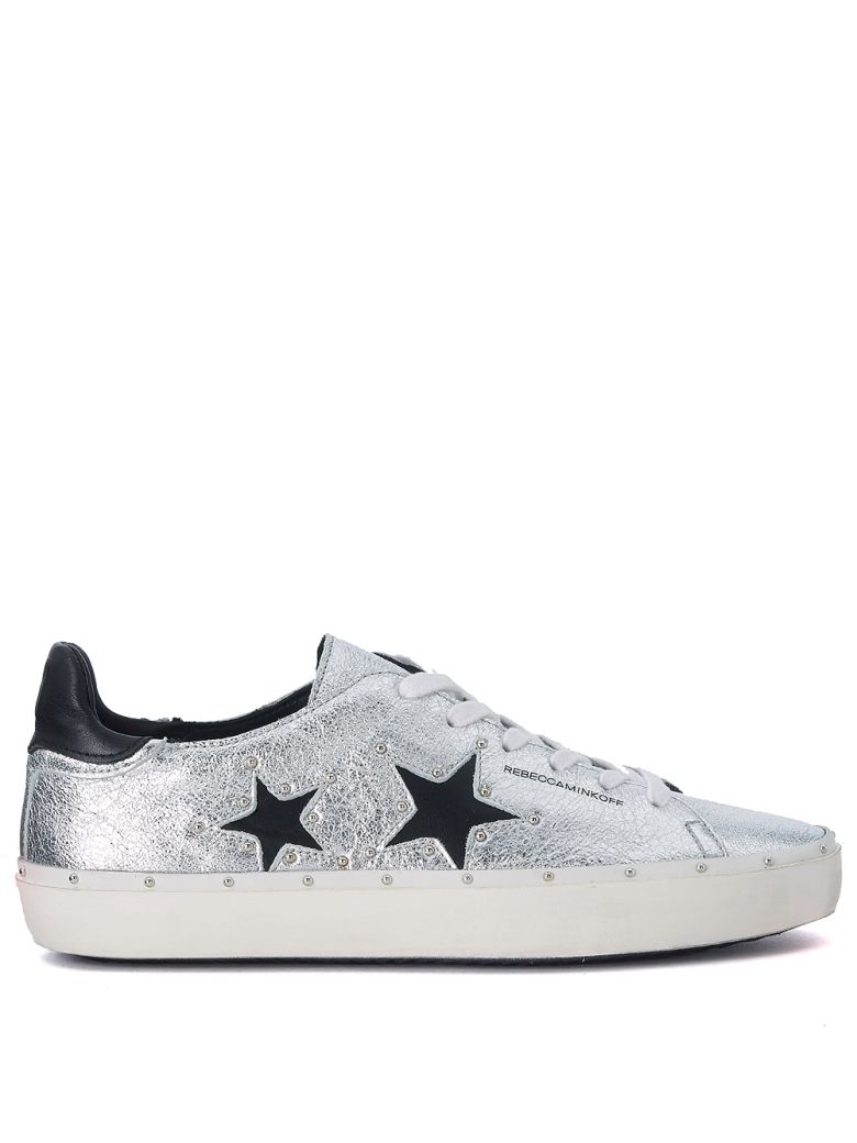MICHELL SILVER AND BLACK LEATHER SNEAKER WITH STUDS