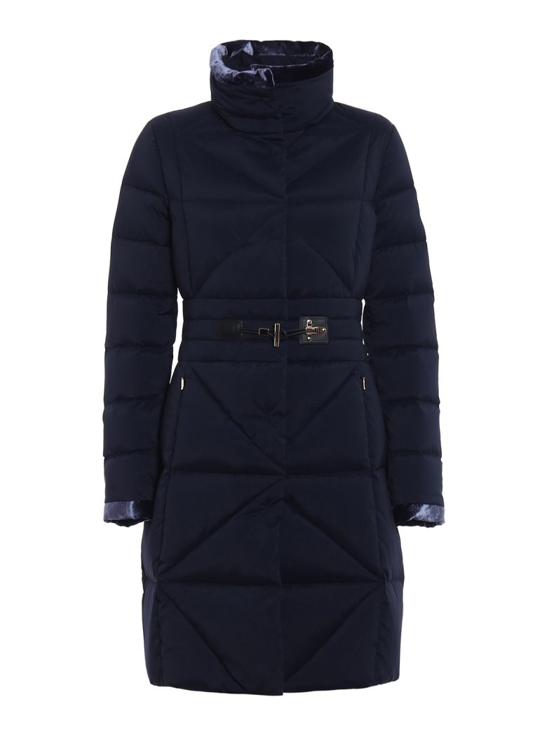 Frog Detail Fitted Padded Coat, Blue