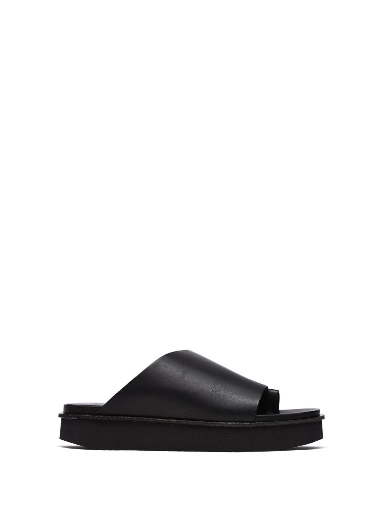 VIC MATIE BLACK LEATHER ASYMMETRICAL SLIPPER