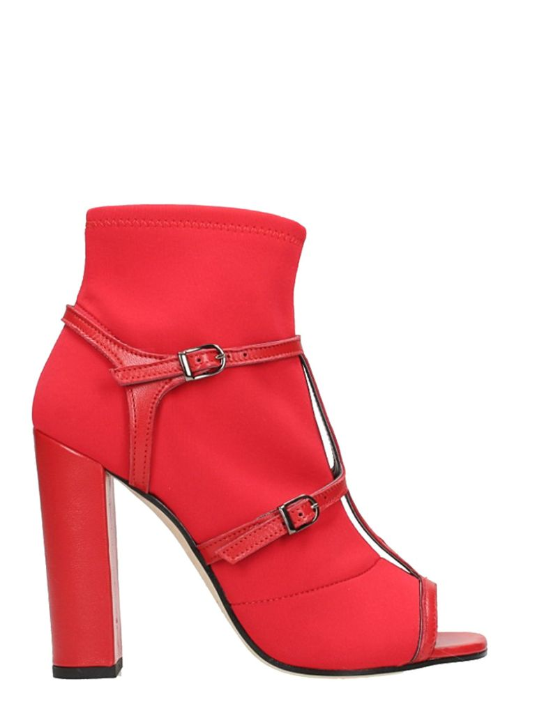 RED OPEN TOE ANKLE BOOTS