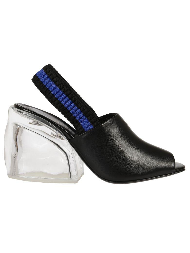 Woman Leather And Plexiglas Slingback Mules Black