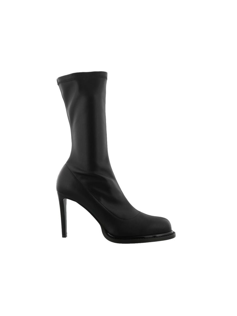 Black Faux Leather Leather Boots