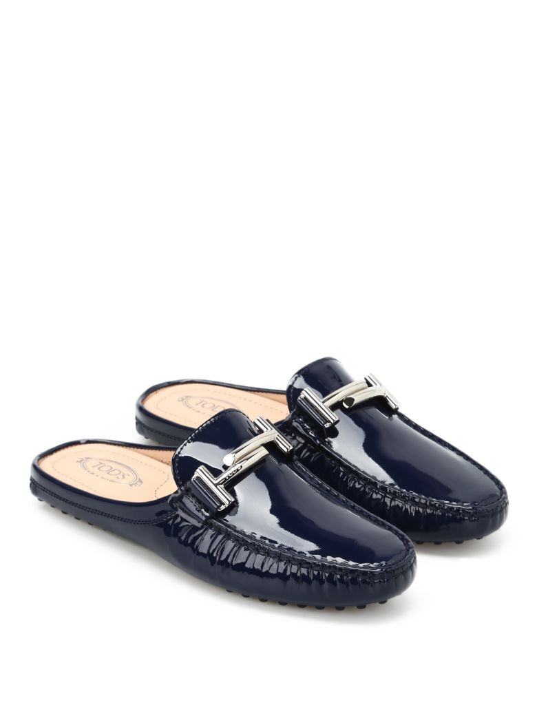 DOUBLE T PATENT SLIPPERS