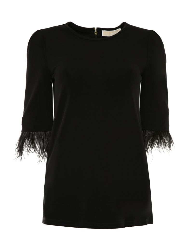MICHAEL Michael Kors Blouse With Feathers - BLACK|Nero