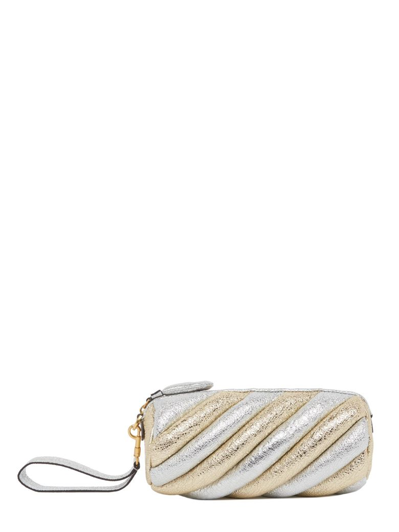 Marshmellow Crackled Metallic-Leather Clutch, Multicolor