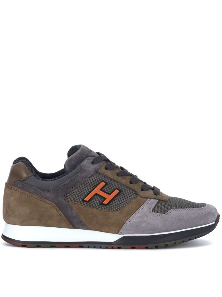 H321 BROWN AND GREY SUEDE AND NUBUK SNEAKER