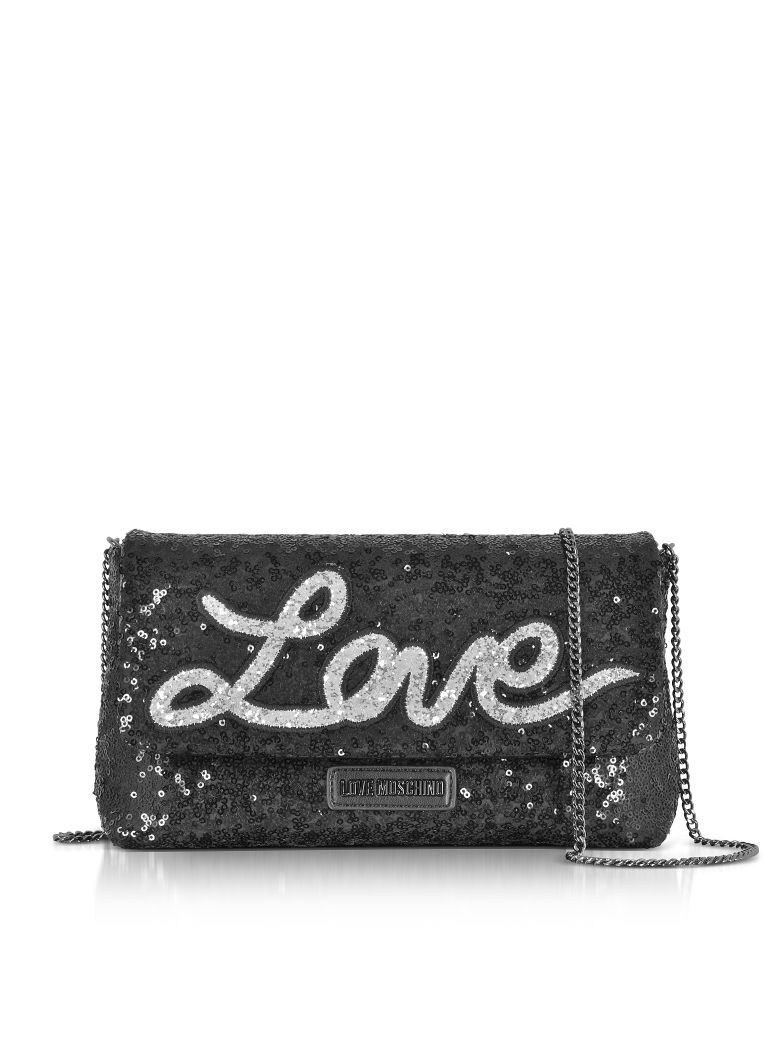 Love Moschino Leathers LOVE SEQUINS METALLIC BLACK CLUTCH W-CHAIN STRAP