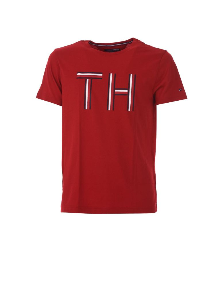 Tommy Hilfiger Regular Fit Logo Initials T Shirt In Rosso Modesens