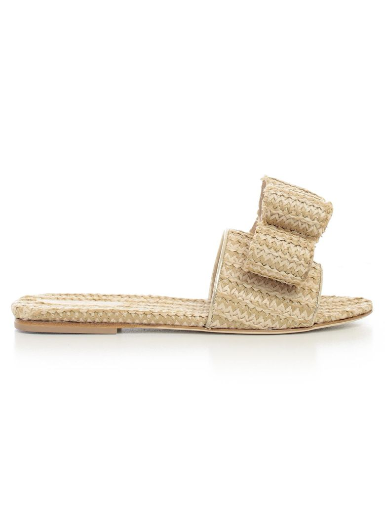 POLLY PLUME bow front weaved sandals