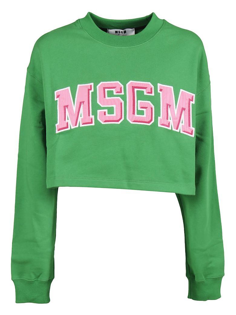 Logo-embroidery cotton cropped sweatshirt Msgm Cheap Online Store 4LiJuOM