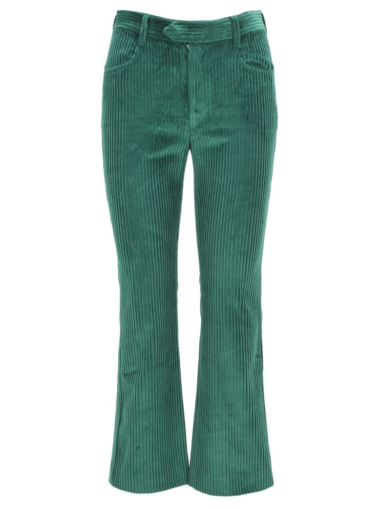 ISABEL MARANT Mereo Cotton-Corduroy Straight-Leg Pants in Forest Green