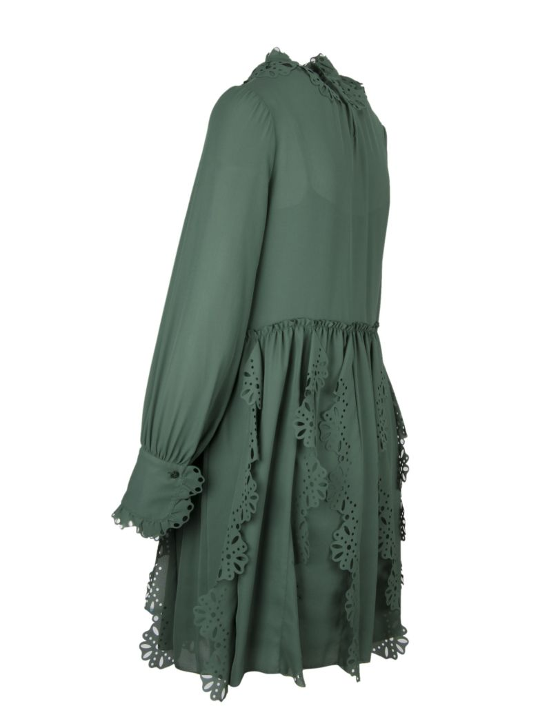 Italist Best Price In The Market For See By Chlo Frilly Laser Cut Longdress Trim Dress Deep Green Marble 3h2 10746625