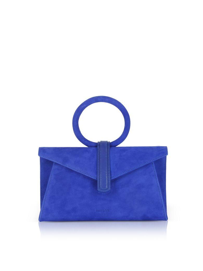 complet royal blue suede valery mini clutch bag w/shoulder strap