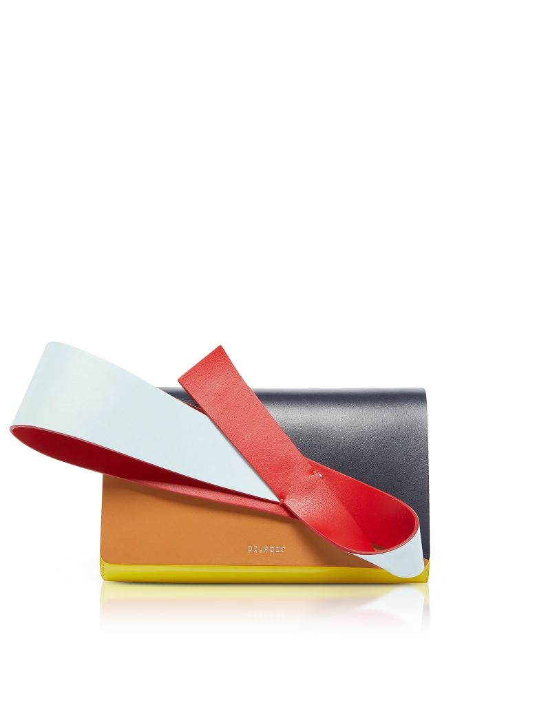 DELPOZO Color Block Patent & Smooth Leather Orchid Clutch in Blue