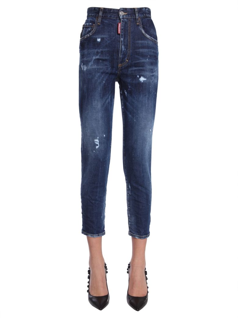 High Waist Cropped Twiggy Jeans in Blue