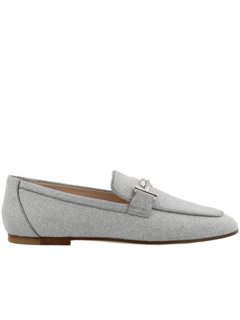 Double T Glitter Loafers, Silver