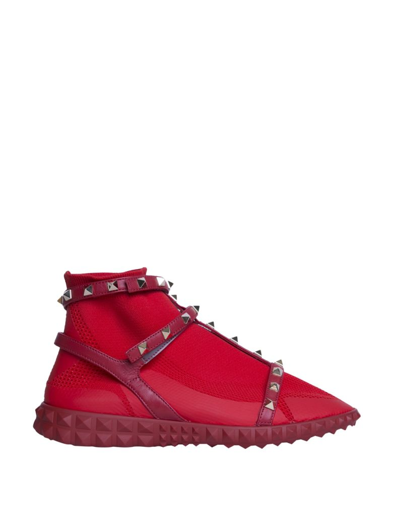 Stretch Knit Rockstud High-Top Sneakers, Rosso