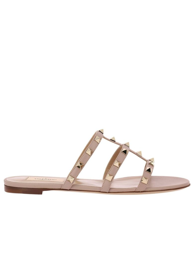 FLAT SANDALS VALENTINO ROCKSTUD SANDAL FLATS IN GENUINE LAMINATED LEATHER WITH METAL STUDS