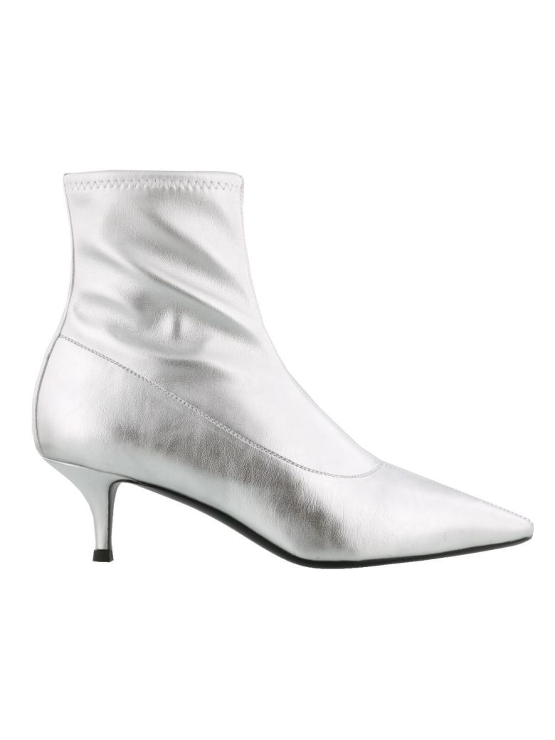 Metallic Silver Salomé Boots In Leather