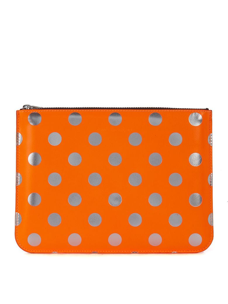 COMME DES GARÇONS WALLET PURSE IN ORANGE AND SILVER LAMINATED LEATHER