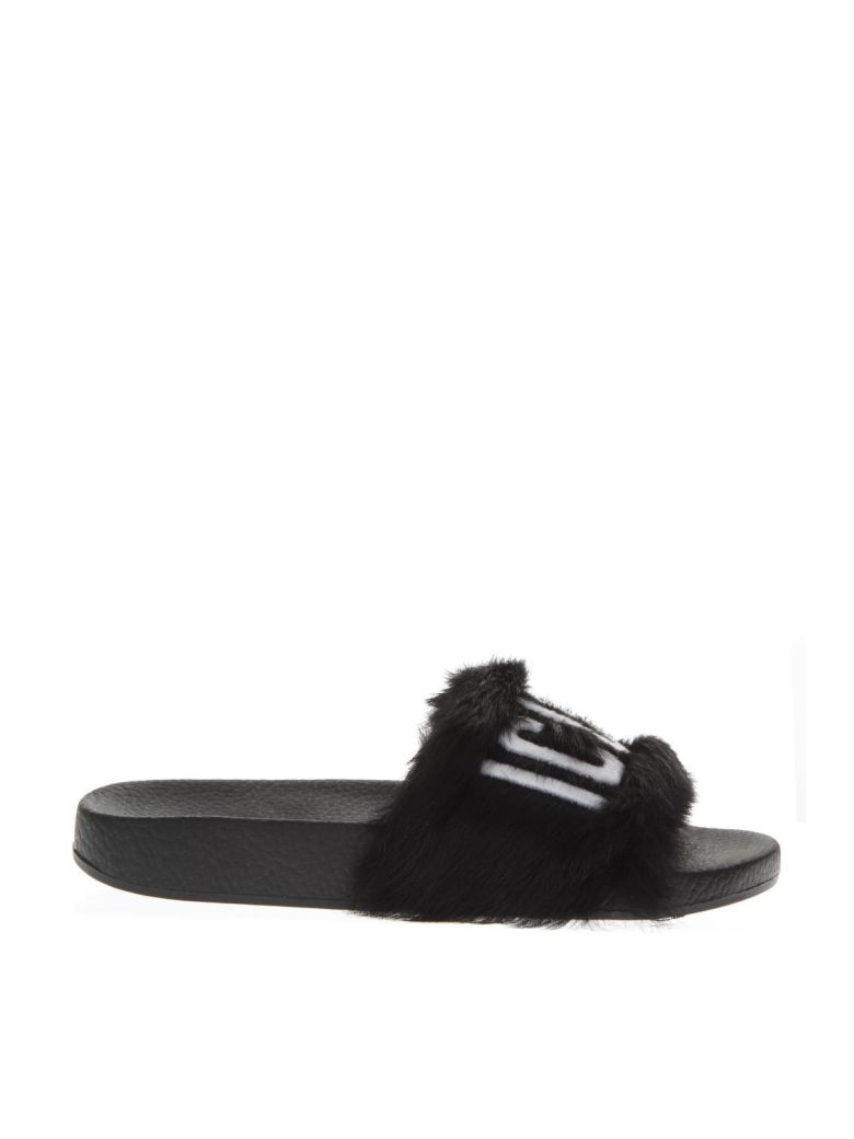 Dsquared2 Black Leather Slippers - Black