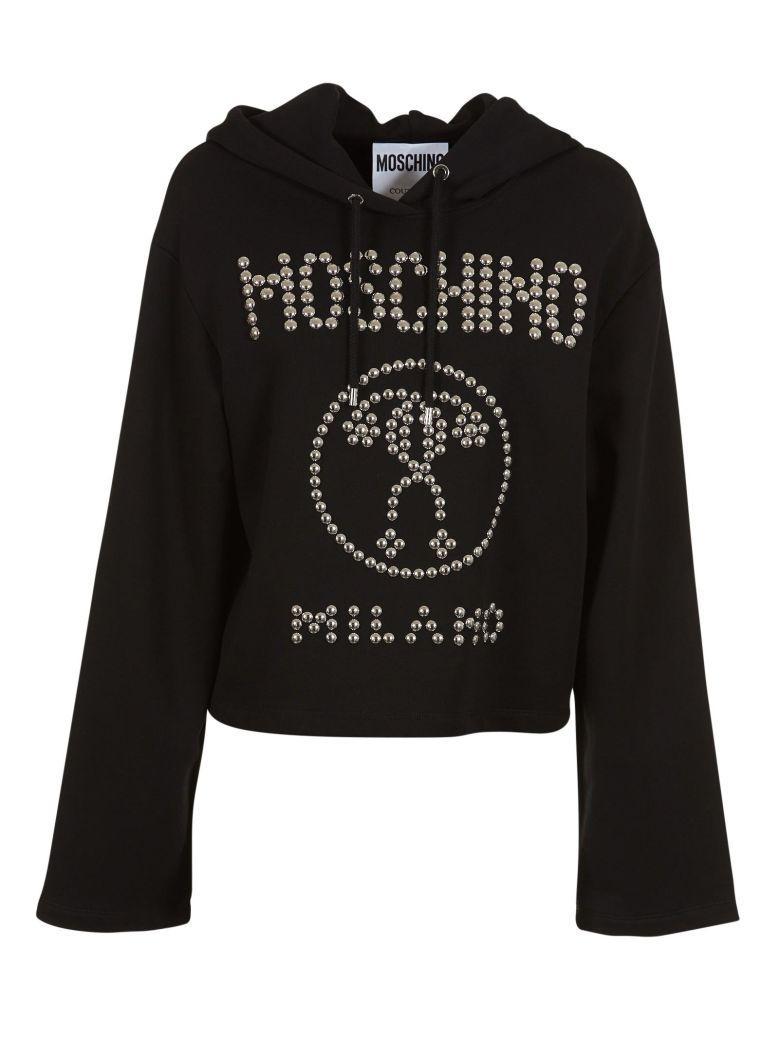 aae0ca0df5 Moschino Studded Hoodie In Nero   ModeSens