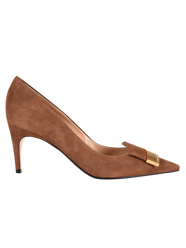 2e342565e657 Sergio Rossi Pointed Detail Pumps In Toffee