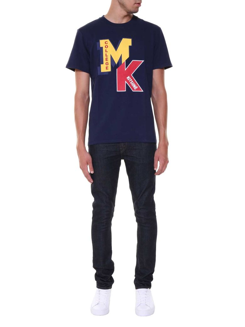 KITSUNÉ Printed T-Shirt in Navy