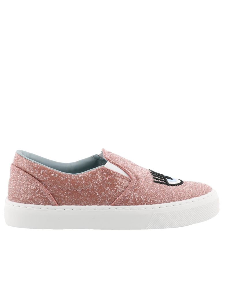 Women'S Embroidered Glitter Slip-On Sneakers in Pink