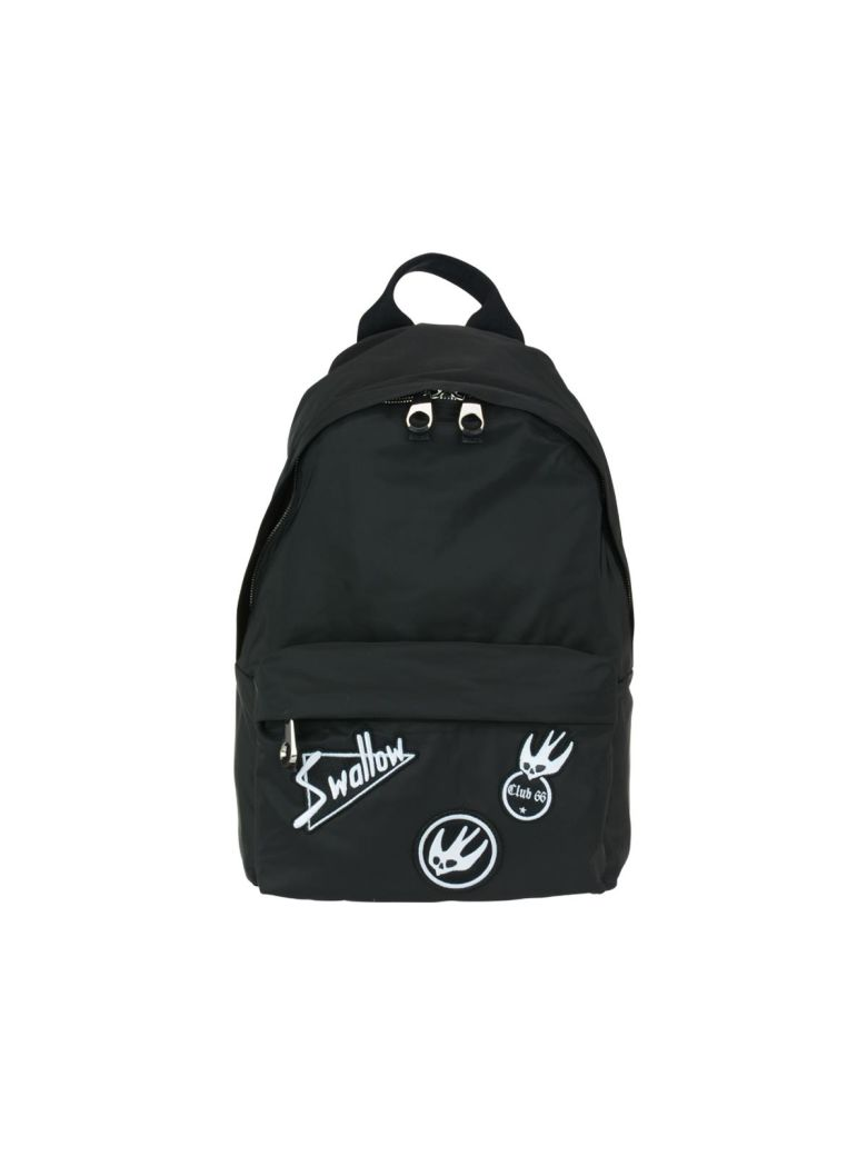 MCQ ALEXANDER MCQUEEN BLACK NYLON BACKPACK W-SWALLOW PATCHES