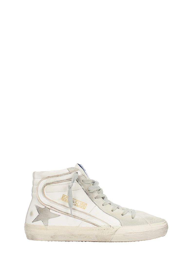 SLIDE WHITE LEATHER SNEAKERS