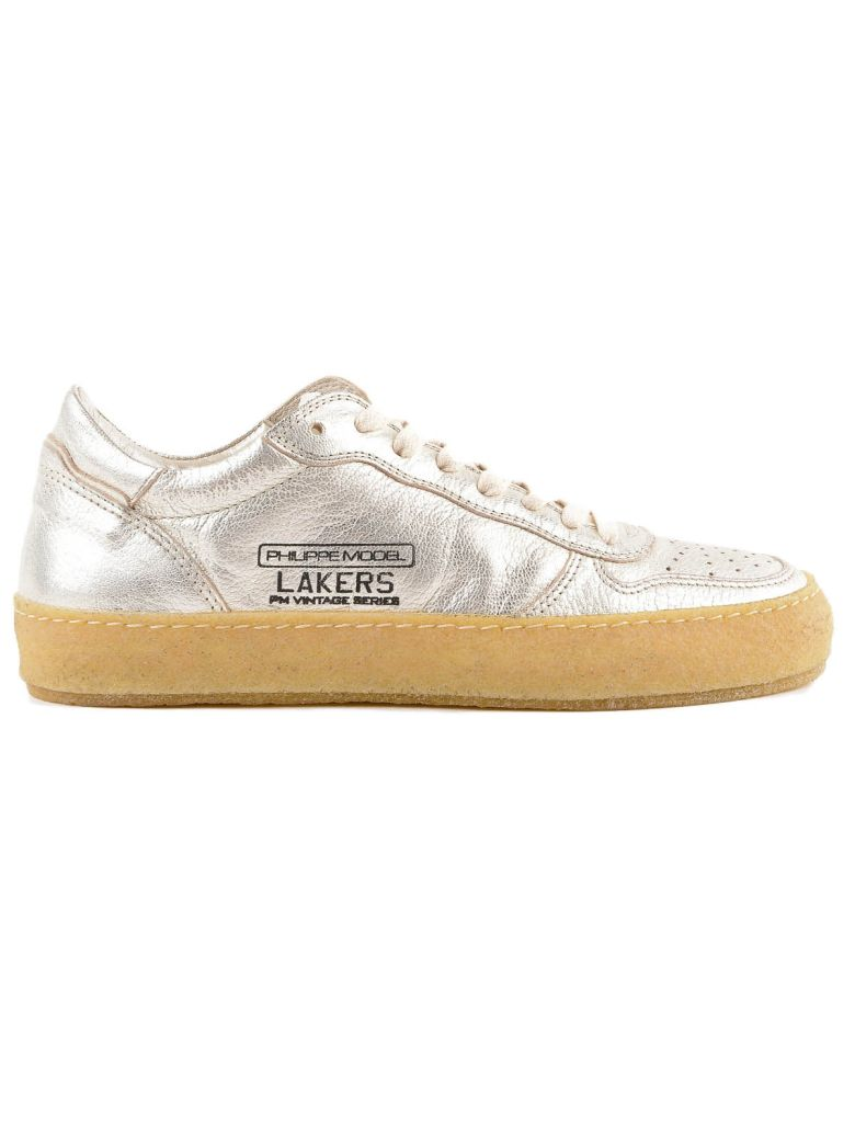 PHILIPPE MODEL Lakers Vintage Silver Leather Sneaker in Metallic
