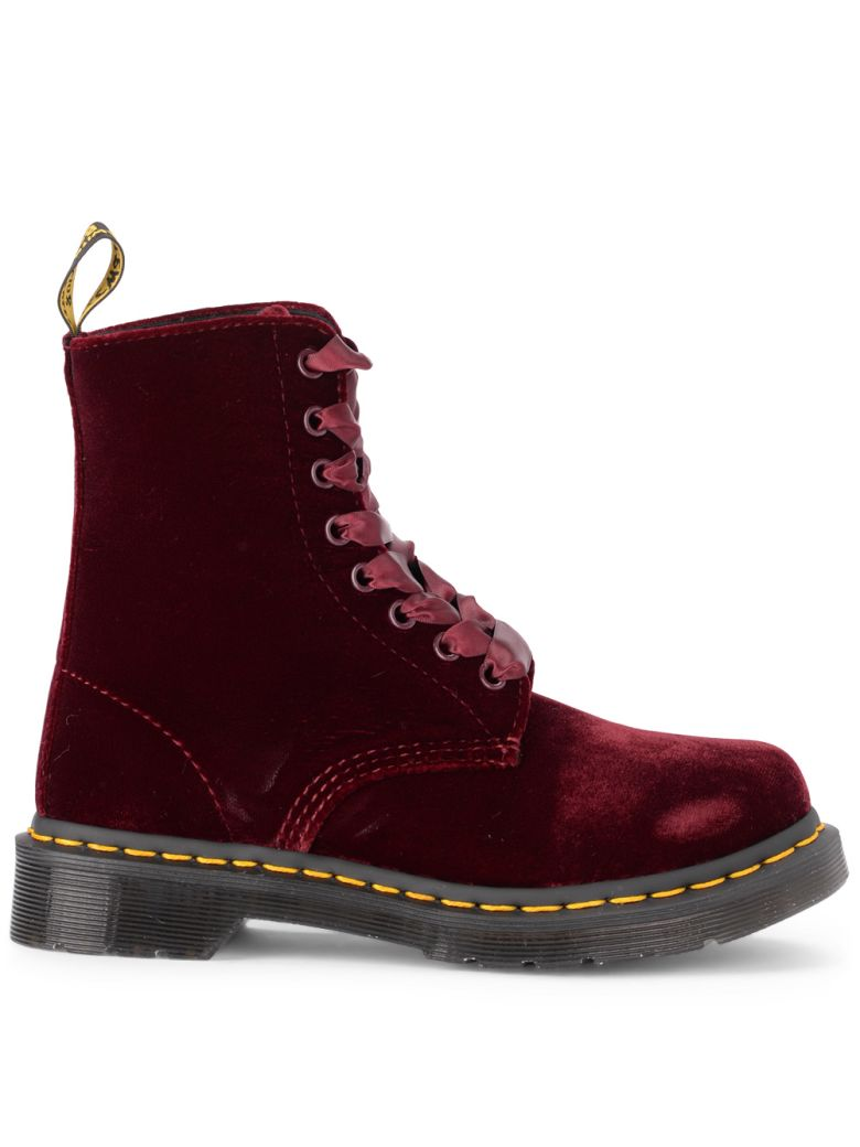 PASCAL RED VELVET ANKLE BOOTS