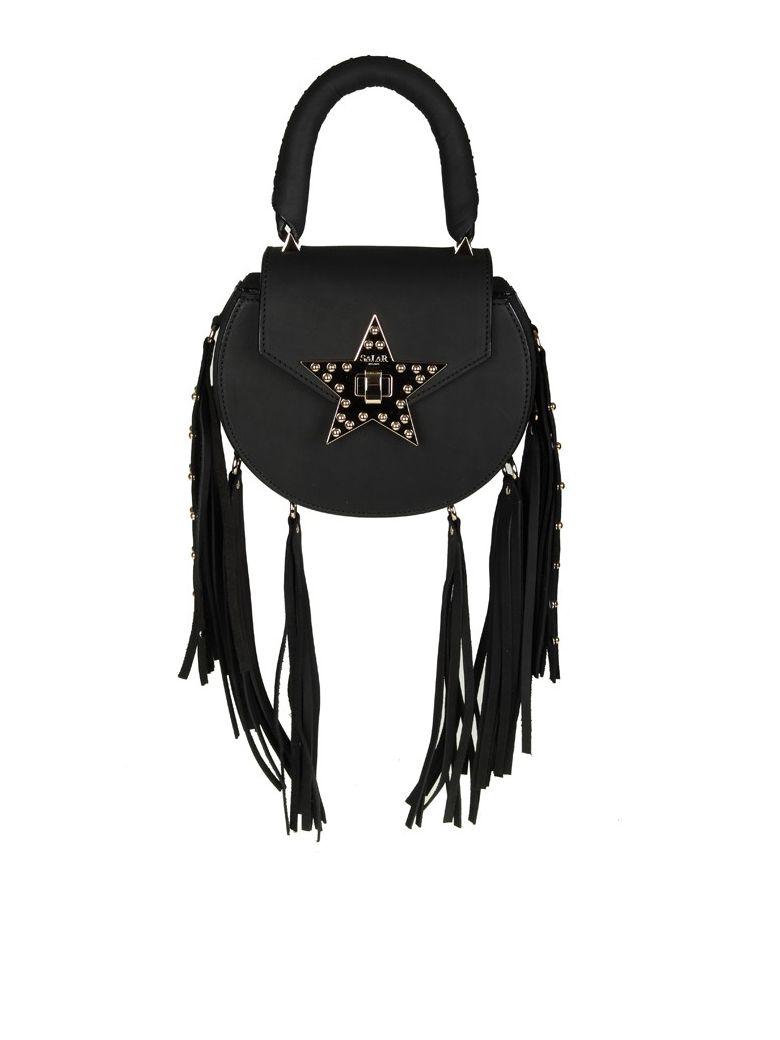 salar mimi fringe bag black leather with fringe applied