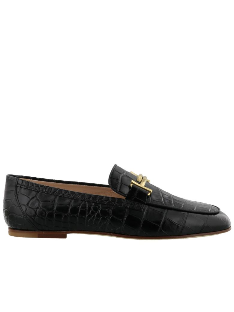 Croc-Embossed Leather Loafers, Black