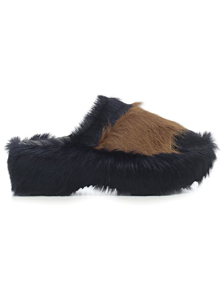 FUR TRIMMED MULES