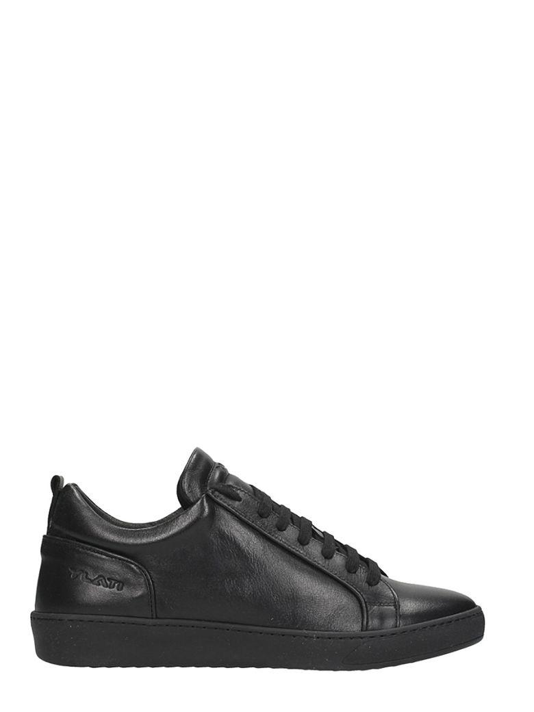 YLATI FOOTWEAR AMALFI BLACK LEATHER SNEAKERS